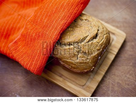 Fresh Bread Under Napkin
