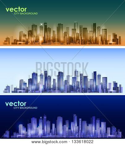 Modern city skyline . Urban header set