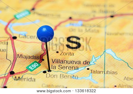 Villanueva de la Serena pinned on a map of Spain