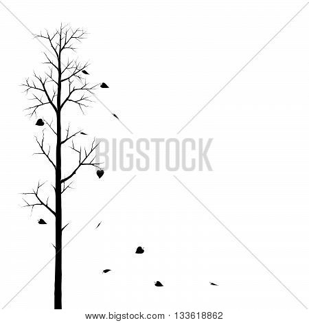 Tree And The Falling Leaves. Vector Illustration Of A Silhouette Of A Tree With Falling Leaves