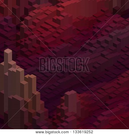 Abstract Background With Cube Decoration. Vector Illustration. Purple, Brown, Red Colors.