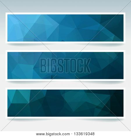Vector Banners Set With Polygonal Abstract Triangles. Abstract Polygonal Low Poly Banners. Dark Blue