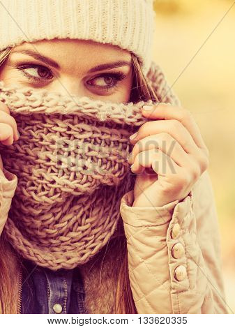 Woman With Scarf And Cap.