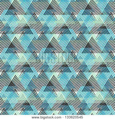 Vector seamless geometric pattern with striped triangles, abstract dynamic shapes in bright colors. Hand drawn background with overlapping lines in 1970s fashion style. Modern textile print in blue