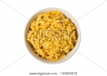 A bowl of prepared boxed macaroni and cheese isolated on white.