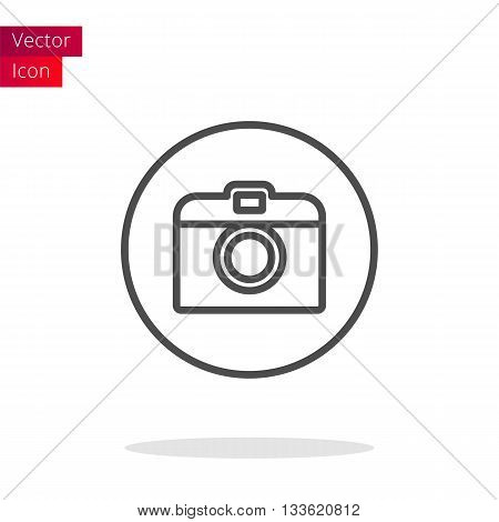 Photo Camera Thin Line Icon Or Button