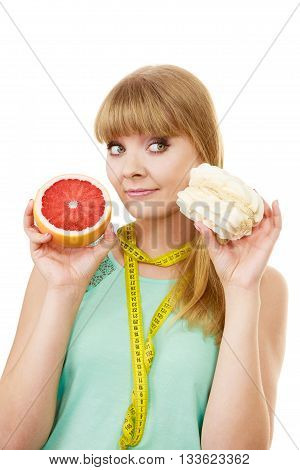 Woman Choosing Fruit Or Cake Make Dietary Choice