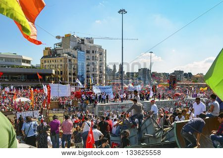 Istanbul Turkey - June 9 2013: A view from the protests in Taksim Square. It has started action against the construction of a shopping center instead of cutting trees in Gezi Park in Istanbul.