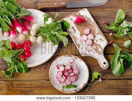 Bundle Of Fresh Organic Radishes On Table.