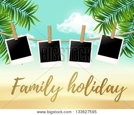 Summer four photo frames on the rope with summer sea and beach vacation - vector illustration. Blank photos on the clothespin with palm trees. Summer Hot background for your photo