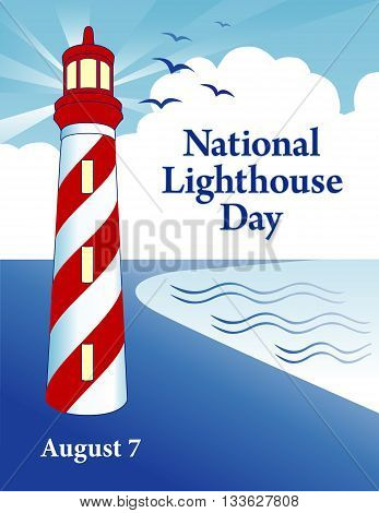 Lighthouse Day, national holiday in USA held annually on August 7th, seaside coast lighthouse with light beacon, blue sky ray background.