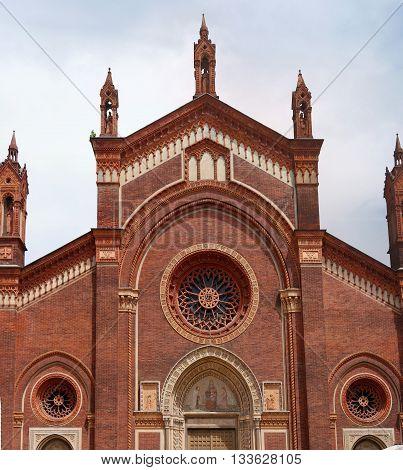 Milan Italy - Santa Maria delle Grazie church. The upper part of the main facade.