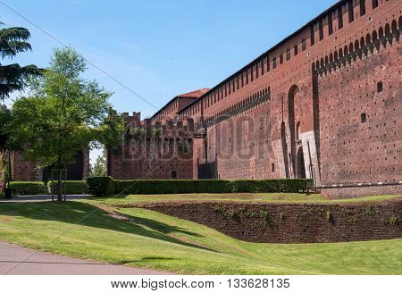 Sforza Castle -Castello Sforzesco- a castle in Milan Italy. It was built in the 15th century by Francesco Sforza Duke of Milan