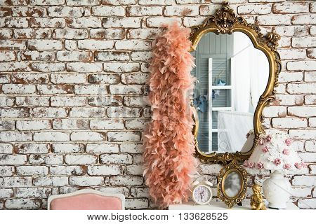 Mirror On The Brick Wall Background And Boa