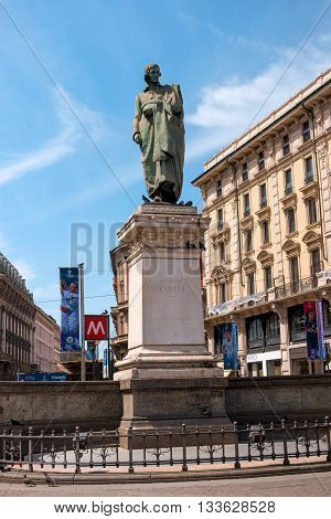 Milan Italy - May 25 2016: Giuseppe Parini statue in Milan Dante street. Giuseppe Parini - Italian poet representative of the Italian Enlightenment classicism.