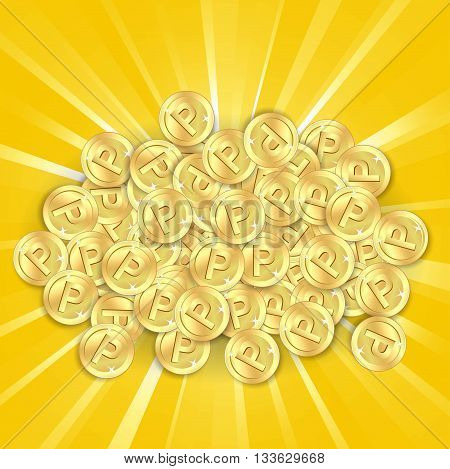 Gold coins on sunburst background. A lot of point coin.