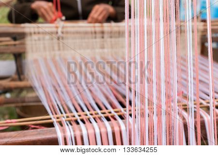 Hand woven on loom product of natural dyeing fabric