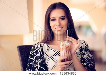 Smiling  Woman with Coffee Frappe Drink at the Restaurant