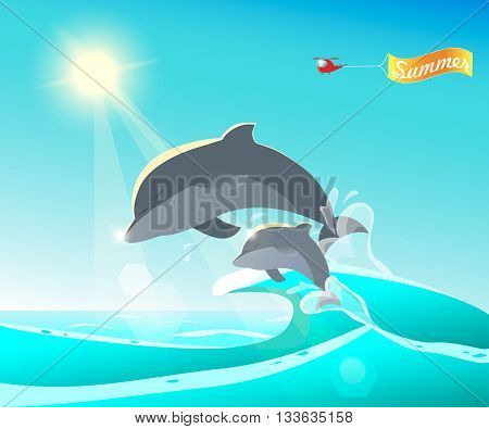 Dolphins jumping from the ocean. Summer background. Helicopter with Summer banner greeting. Cartoon colorful vector illustration. Sunny summer day seascape. Dolphins play in waves.