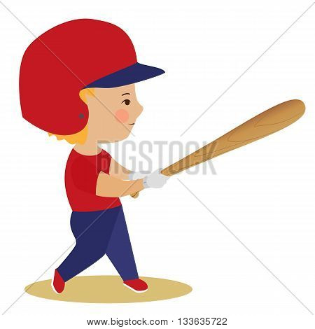 Boy playing baseball. Kid with bat in uniform and helmet. Cartoon drawn cute character. Kids sport vector illustration. Childrens activity poster.