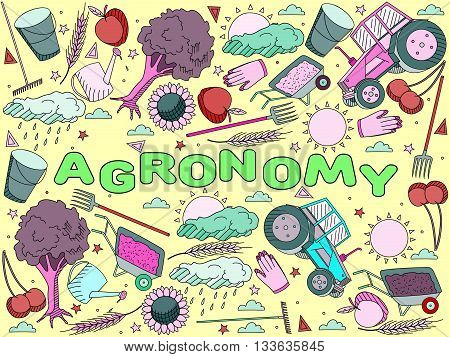 Vector line art Doodle set of cartoon characters and objects Agronomy.