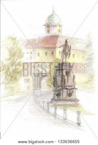 Color pencil sketch of the castle and King Jiri monument, view from central square, Podebrady, Czech republic
