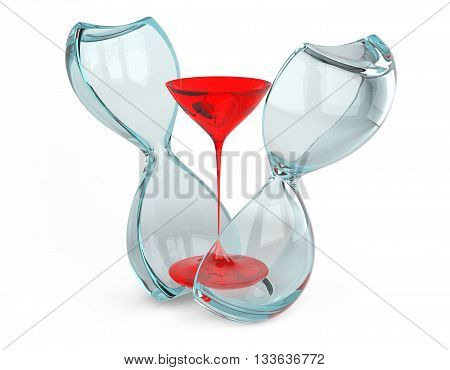Hourglass cut into two parts. The concept of measuring the time in a countdown to a deadline isolated on a white background image.