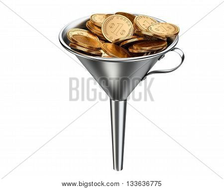 Steel funnel with pile coins . Business investment - concept. 3D illustration isolated on white background.