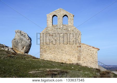Hermitage of San Miguel at the foot of Castle Gormaz province of Soria. Spain