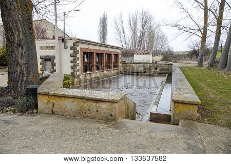 Laundry and watering hole Fuensauco Castilian town and district of the province of Soria Castile and Leon Spain