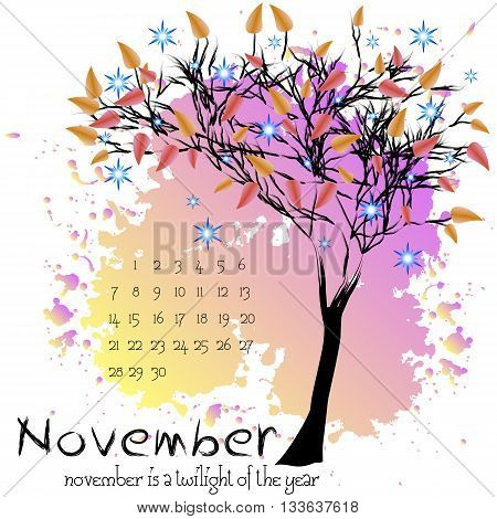 Abstract nature background with autumn tree with scarlet foliage and sample of dates for calendar month November. Calendar design. Shape of tree on purple splashes and blots. Vector illustration