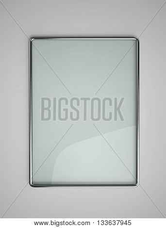 Glass banner with glossy metal frame on the wall. 3D rendering