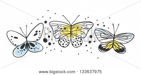 Set of butterfly. Hand drawn vector illustration. Decorative elements for design. Black contour drawing. Creative ink art work