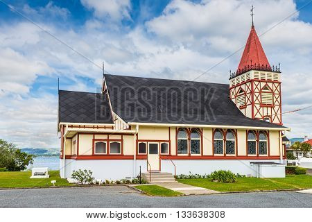 Rotorua New Zealand - November 20 2014: St Faith's Anglican Church. Rotorua is a major travel destination known for its geothermal activity and hot mud pools.