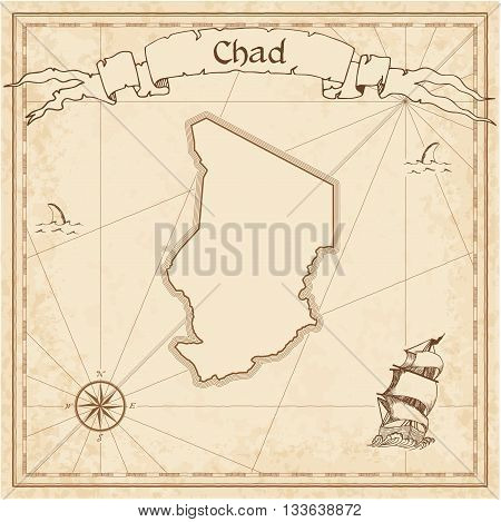 Chad Old Treasure Map. Sepia Engraved Template Of Pirate Map. Stylized Pirate Map On Vintage Paper.