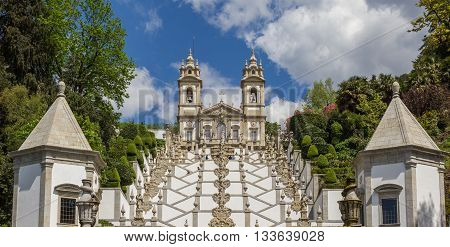 BRAGA, PORTUGAL - APRIL 25, 2016: Panorama of stairs leading to Bom Jesus do Monte in Braga, Portugal