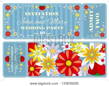 Retro boarding pass ticket wedding invitation template. Invitation ticket to wedding and vintage card pass wedding illustration