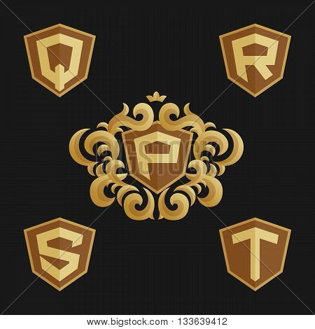Decorative Ornate monogram emblem template. Stylish set of vector monograms. Golden shield with crown and letters from P to T.