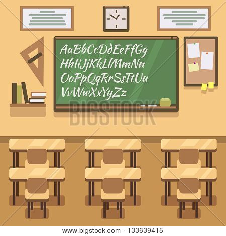 School, university, institute, college classroom with chalkboard and desk. School classroom and lesson study classroom. Vector flat illustration