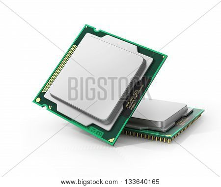 Processor. Two computer processor with blank space. Hardware. 3d illustration