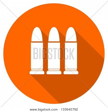 ammunition vector icon, circle flat design internet button, web and mobile app illustration