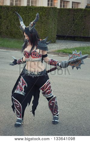 Cosplayer Dressed As The Character Lady Deathwing