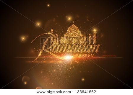 Ramadan Kareem. Vector holiday illustration of shiny Ramadan Kareem label with flare lens effect. Lettering composition of muslim holy month with sparkles and stars. Ramadan Kareem holy month sign