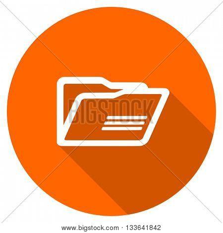 folder vector icon, circle flat design internet button, web and mobile app illustration