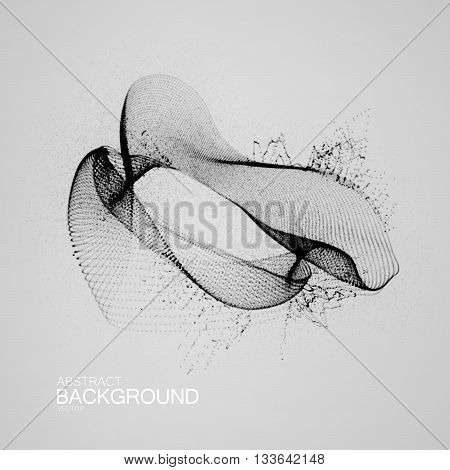3D ink stylized abstract digital splash of particles. Futuristic vector illustration of particles. Technology concept of radio or sound wave. Abstract ink fluid background