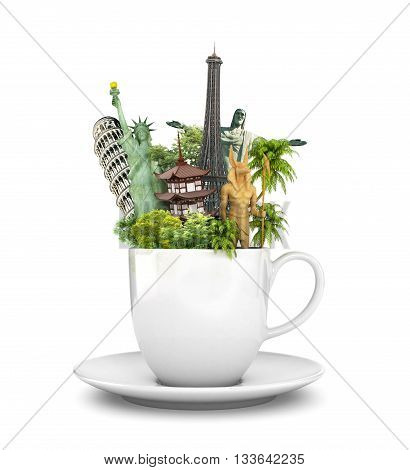 Travel concept. Coffee Mug tea. World-famous sights on a white background. 3d illustration