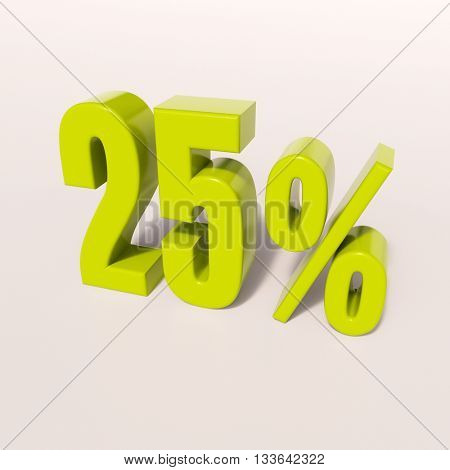 3d render: green 25 percent, percentage discount sign on white, 25%