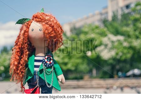 Handmade Doll With Curly Red Hair