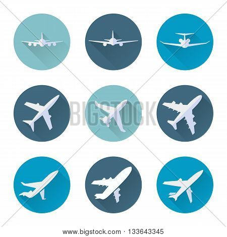 Airplane flat icons in blue circle set. Vector illustration