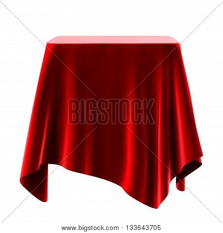 red tablecloth. isolated on white background .